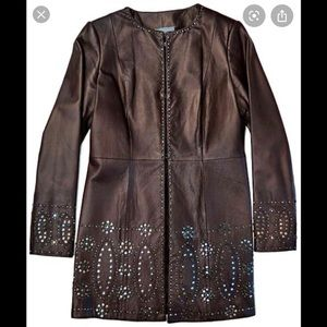 Eccocci  Leather Studded Jacket Long Brown